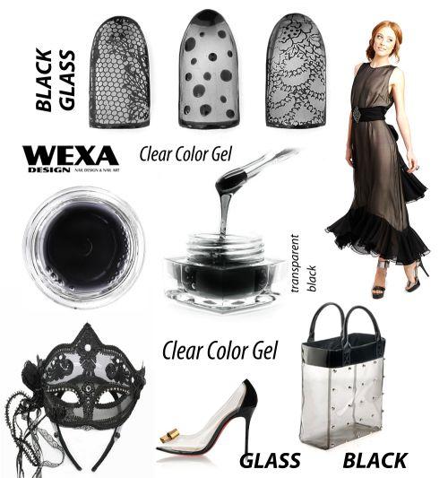 Black Glass gel - čierny transparenstný uv gél na nechty