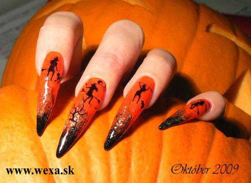 Gelové nechty na Halloween - vzory
