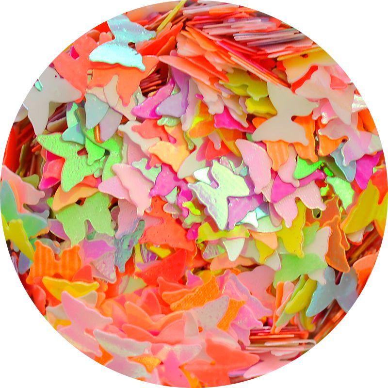 Neónové motýliky na nechty s perlovým odleskom