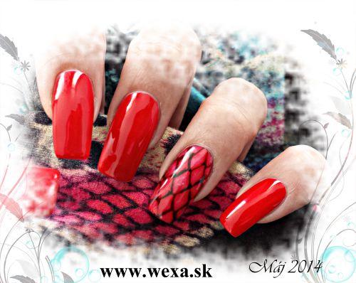 Červené gélové nechty - červený gel lak na nechty WEXA GelLOOK