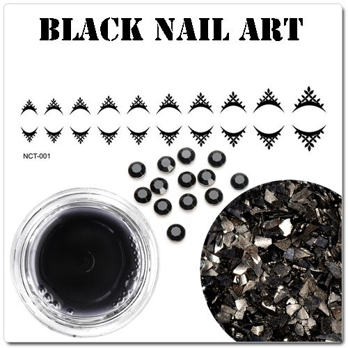 Čierne gélové nechty - čierne ozdoby na gélové nechty