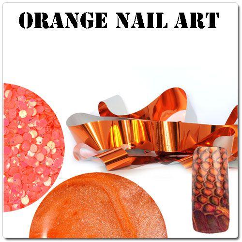Oranžové gélové nechty - oranžové zdobenie na gélové nechty