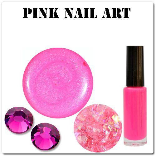 Ružové gélové nechty - ružové ozdoby na gélové nechty