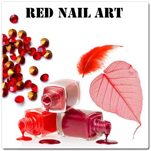 Červené gélové nechty - červené ozdoby na gélové nechty
