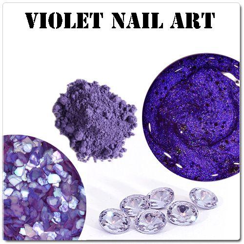 Fialové gélové nechty - fialové ozdoby na gélové nechty