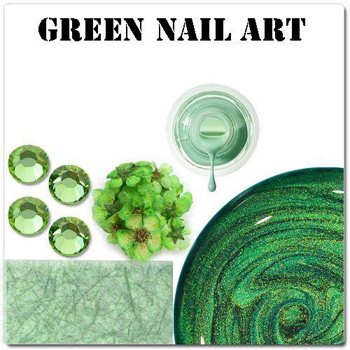 Zelené gélové nechty - zelené ozdoby na gélové nechty