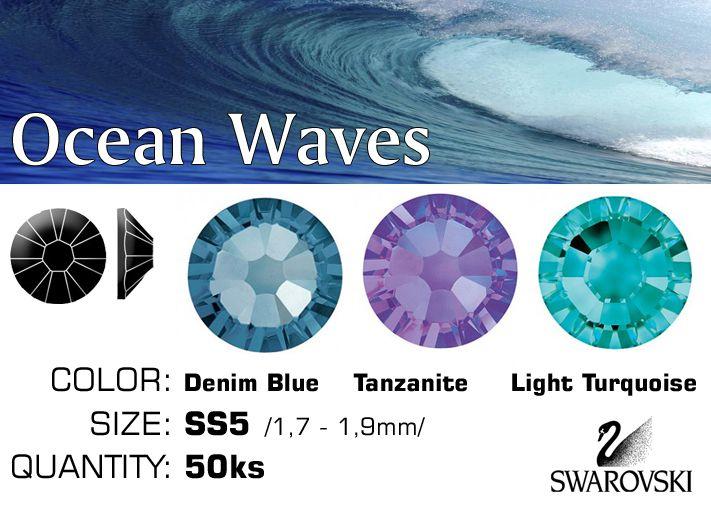 Swarovski F kamienky na nechty - Ocean Waves