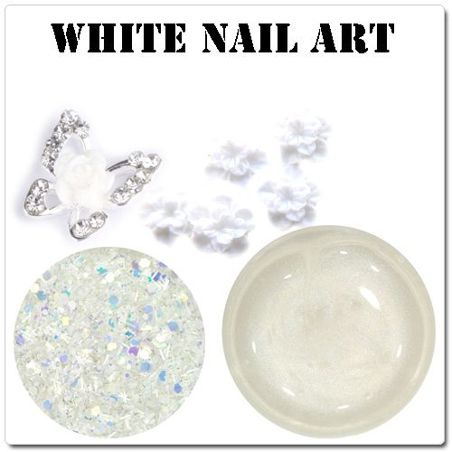 Biele ozdoby na gélové nechty - biely nail art