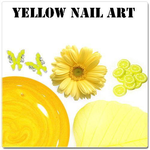 Žlté gélové nechty - žlté ozdoby na gélové nechty