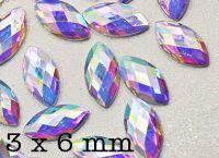 Akrylové kamienky - Horse Eye Crystal AB 3x6mm