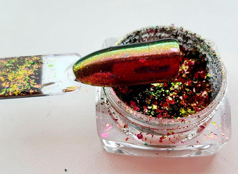 Mirror Nail Flakes 7 - metalické chameleon vločky