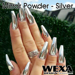 Chrómové nechty - Zrkadlové nechty - Mirror Powder Silver