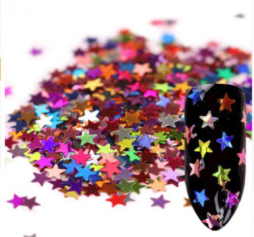 Ozdoby na nechty - tenké metalické hviezdičky