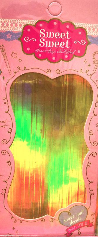 Metalické holografické nálepky na nechty - Pásiky Holo Gold