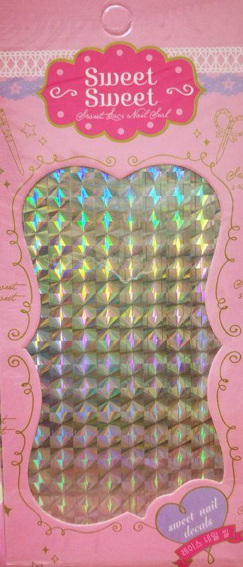 Metalické holografické nálepky na nechty - Pásiky Holo Diamond Silver