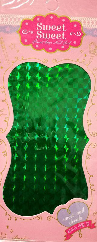 Metalické holografické nálepky na nechty - Pásiky Holo Diamond Green