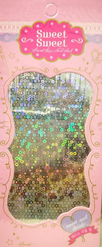 Metalické holografické nálepky na nechty - Pásiky Holo Circle Silver