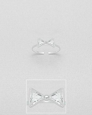 Strieborný mini prstienok Crystal Bow