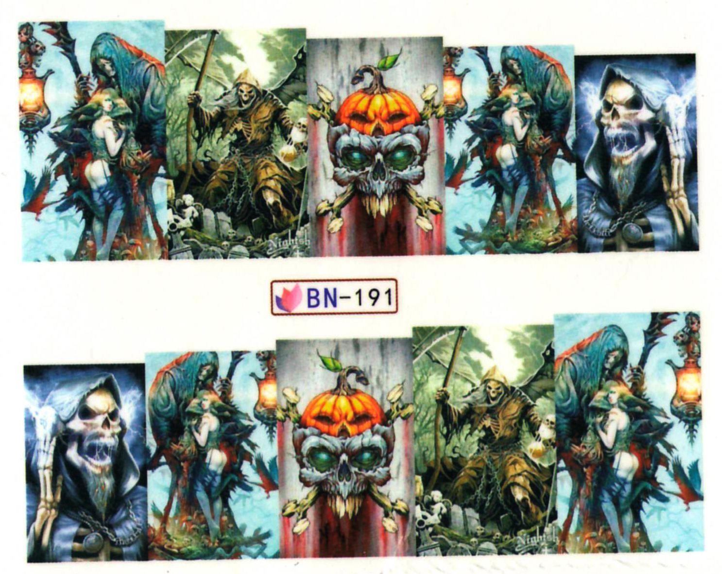 Vodolepky na nechty Halloween BN-191