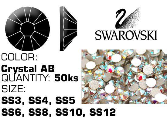 Kamienky na nechty Swarovski F - Crystal AB