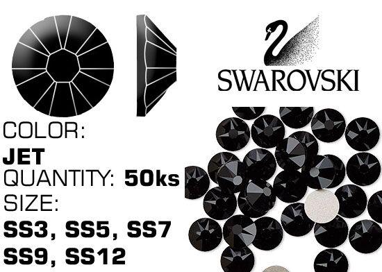 Kamienky na nechty Swarovski F - JET