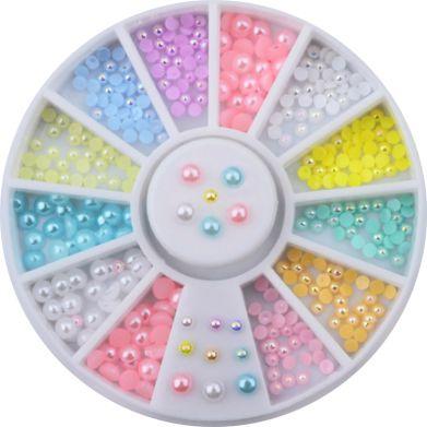 Kolotoč pastelové pol perličky na nechty