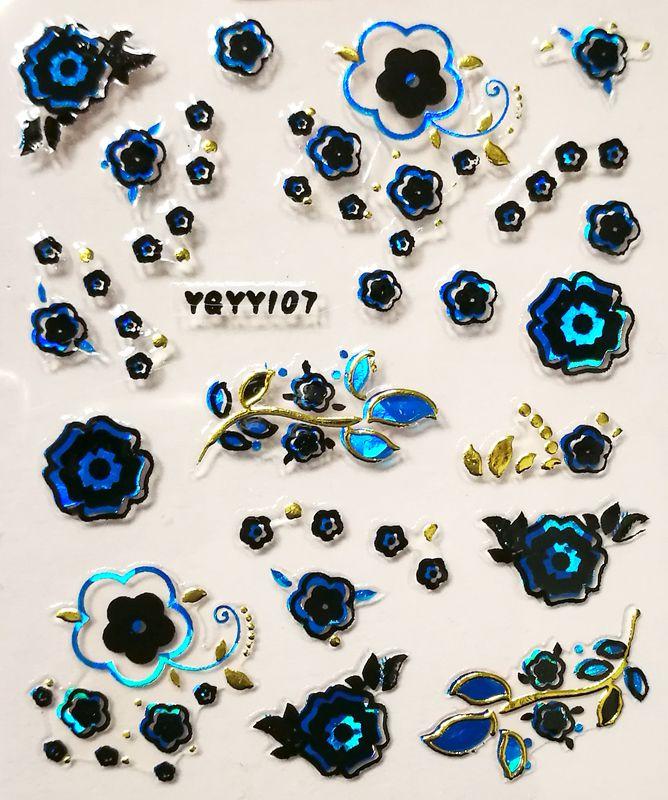 Nálepky na nechty Blue Holo YGYY107
