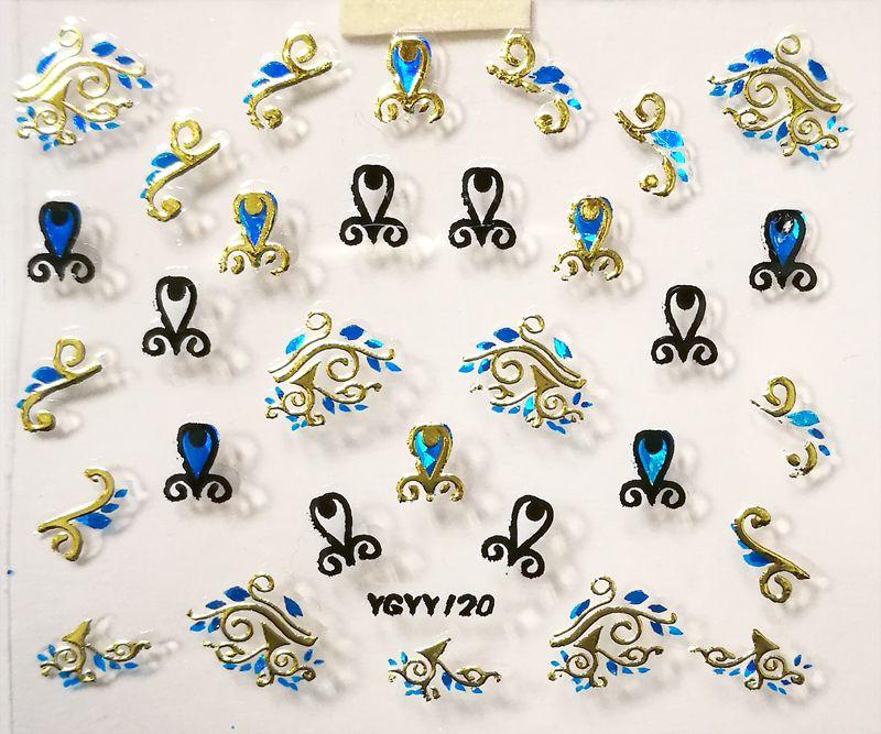 Nálepky na nechty Blue Holo YGYY120