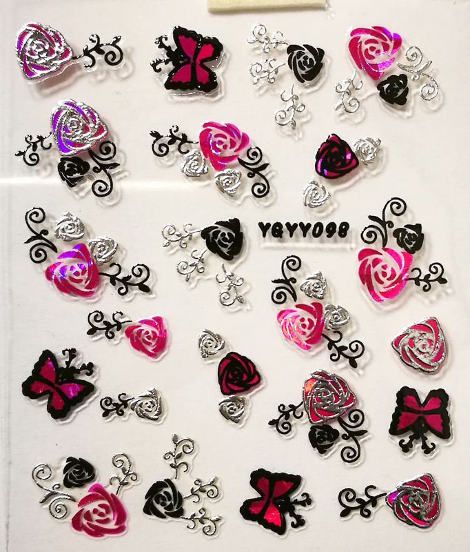 Nálepky na nechty Pink Holo YGYY098 / YGYY115