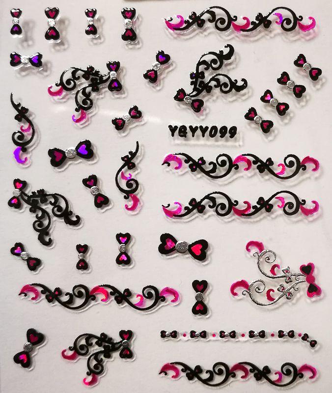 Nálepky na nechty Pink Holo YGYY099