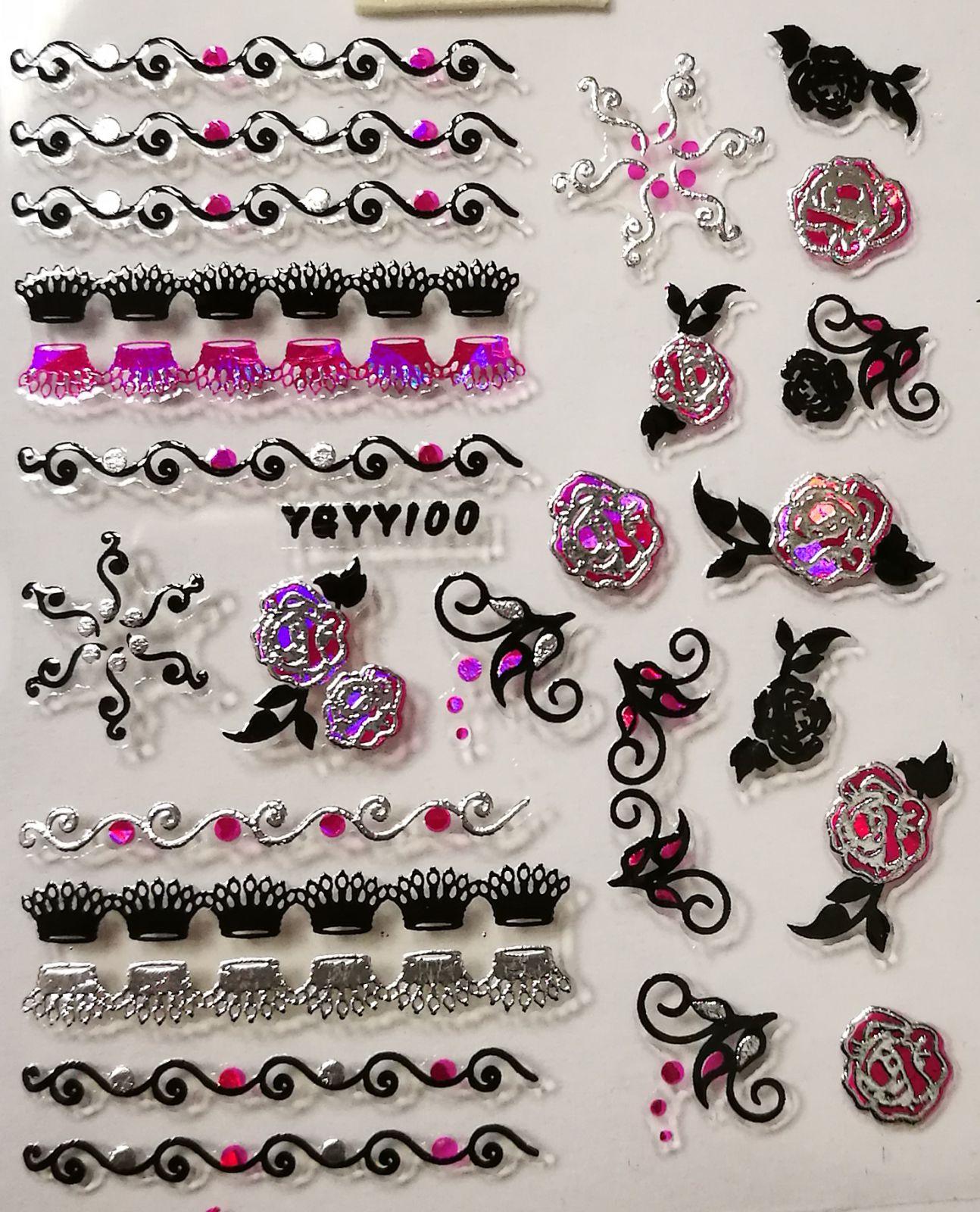 Nálepky na nechty Pink Holo YGYY100
