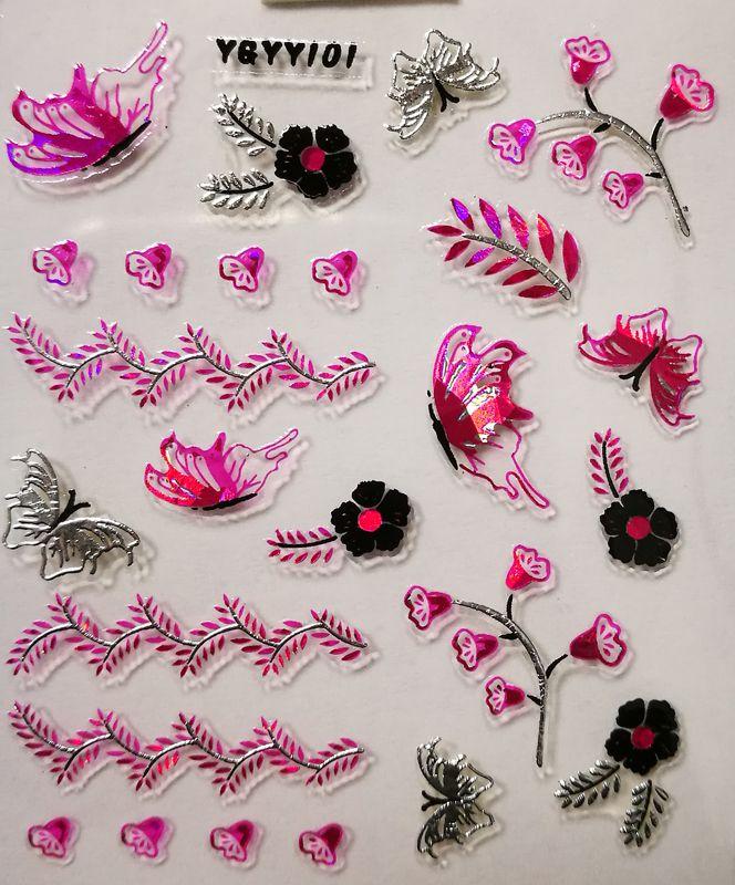 Nálepky na nechty Pink Holo YGYY101