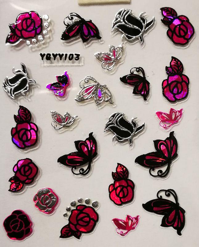 Nálepky na nechty Pink Holo YGYY103