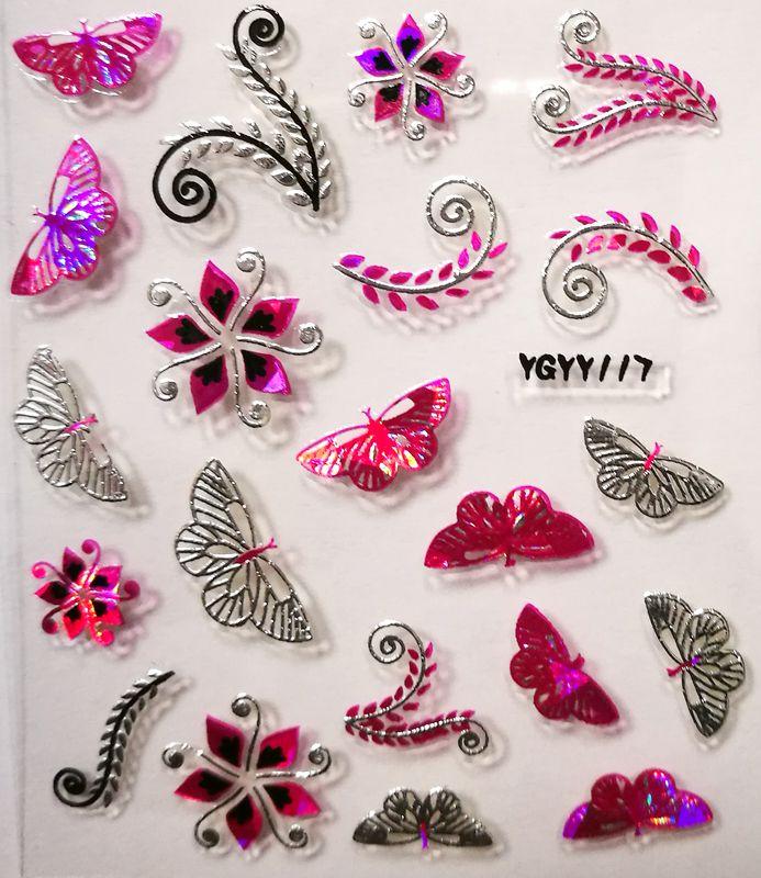 Nálepky na nechty Pink Holo YGYY108 / YGYY117