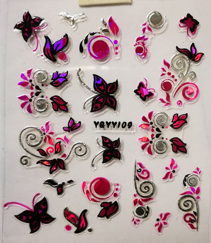 Nálepky na nechty Pink Holo YGYY109