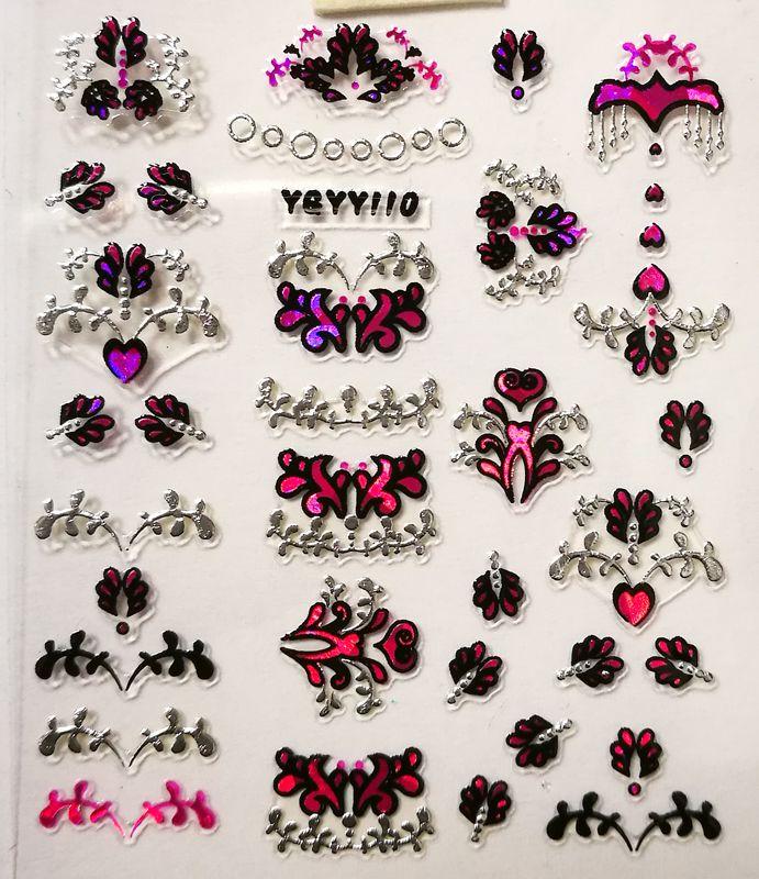 Nálepky na nechty Pink Holo YGYY110