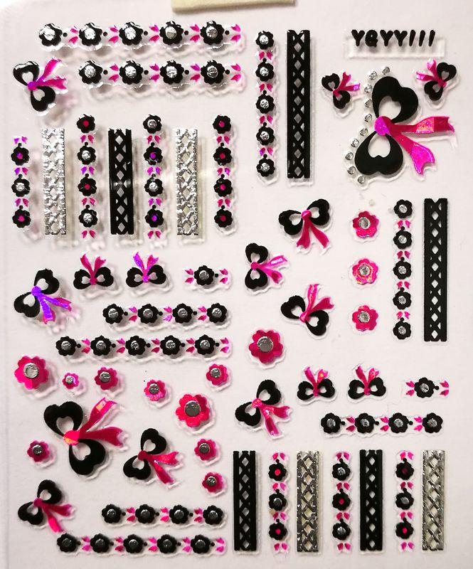 Nálepky na nechty Pink Holo YGYY111
