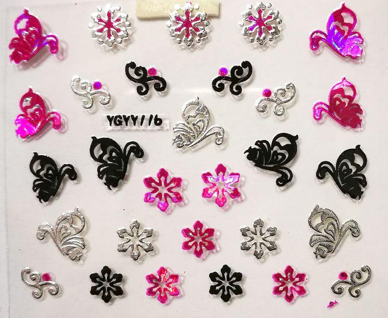 Nálepky na nechty Pink Holo YGYY116