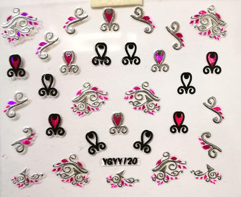 Nálepky na nechty Pink Holo YGYY120