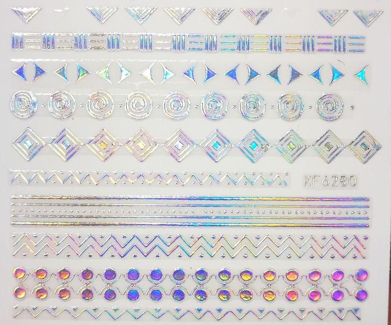 Nálepky na nechty Silver Holo XF6280