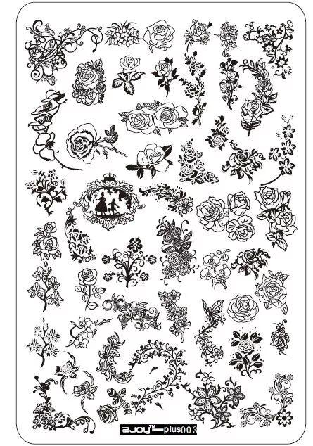 Stamping platnička na nechty - plus 003 Flower