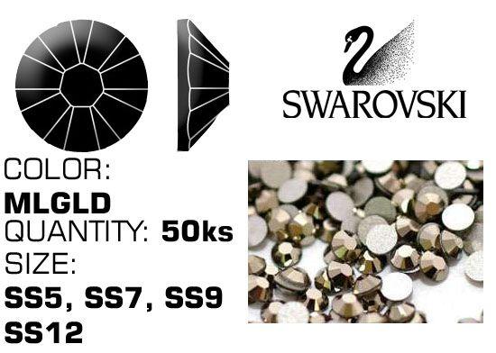 Swarovski F kamienky na nechty - Metallic Light Gold
