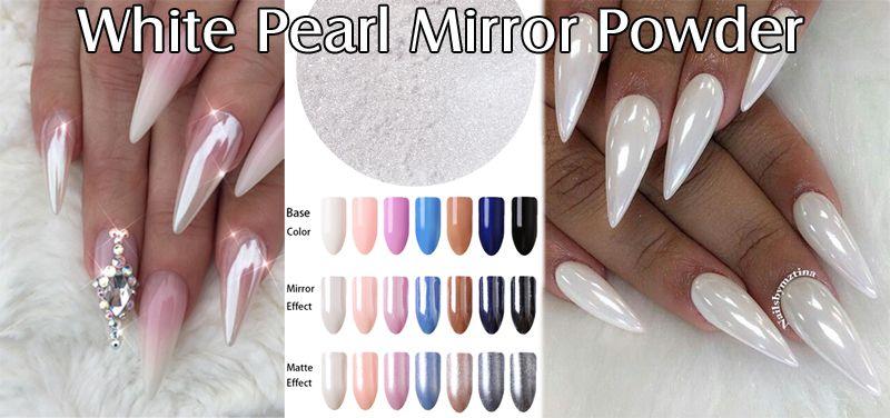 White Pearl Mirror Powder - zrkadlové nechty
