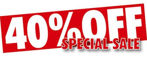 40% zľavy na vybrané tovary