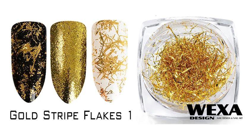 Gold Stripe Flakes na nechty 1