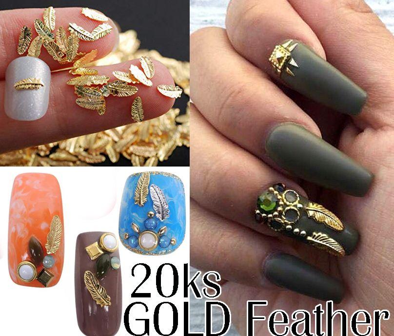 Kovová ozdoba na nechty - Gold Feather