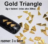 Kovová ozdoba na nechty - Gold Triangle