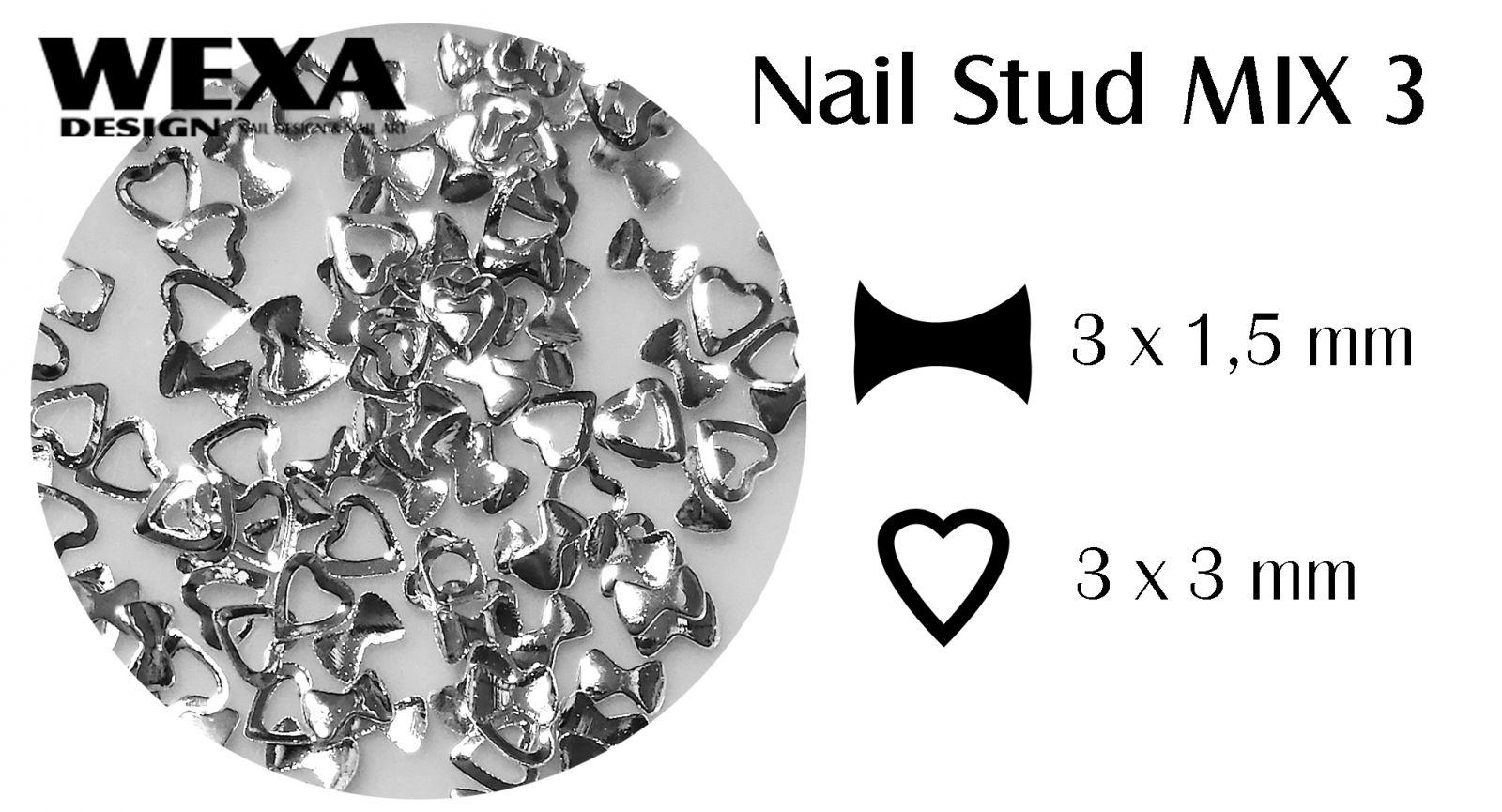 Kovová ozdoba na nechty - Nail Stud MIX 3