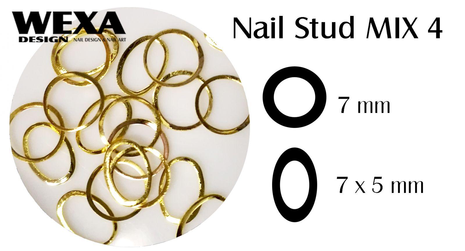 Kovová ozdoba na nechty - Nail Stud MIX 4