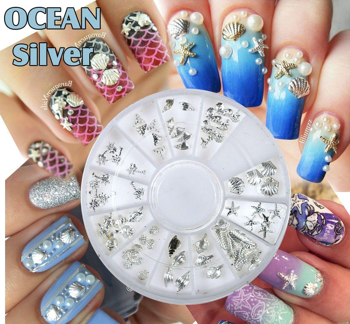 Kovové ozdoby na nechty OCEAN - Silver